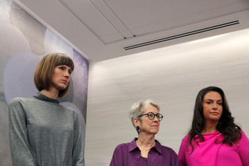 "Rachel Crooks, Jessica Leeds and Samantha Holvey attend a news conference for the film ""16 Women and Donald Trump"" in Manhattan, New York"