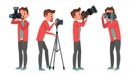 Professional Photographer Vector. Male In Different Poses. Lights And Cameras. Creative Occupation. Profession. Tripod Equipment. Isolated Flat Cartoon Character Illustration