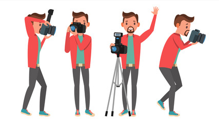 Photographer Vector. Modern Camera. Posing. Full Length Taking Photos. Photojournalist Design. Flat Cartoon Illustration