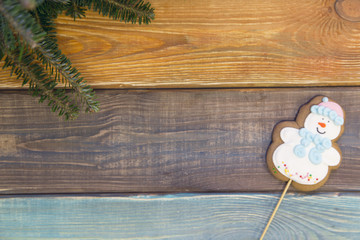 A colored wooden Christmas or New Year background