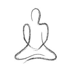 meditierende strichfigur grau gezeichnet