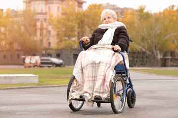Elderly woman in wheelchair outdoors on autumn day