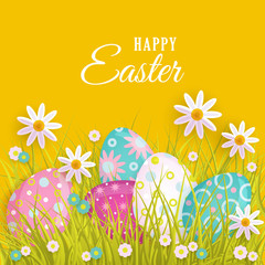 vector easter holiday poster, banner background template with spring festive elements - decorated eggs, daisy flowers and green grass for your design. Illustration on orange background.