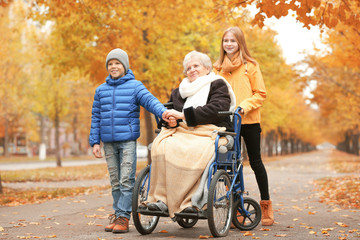 Cute children with their elderly grandmother in wheelchair outdoors on autumn day