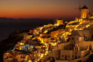 Sunset view of Oia town on Santorini in Greece