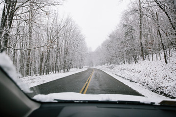 View from the Snow-filled Road