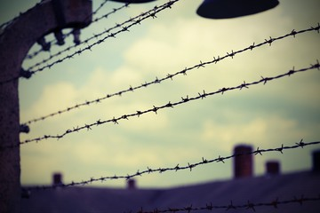 many barbed wire in the refugee camp with vintage effect