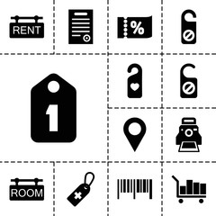 Tag icons. set of 13 editable filled tag icons