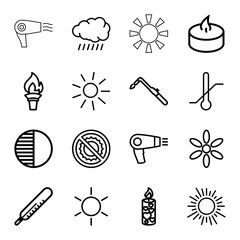 Set of 16 heat outline icons