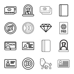 Set of 16 identity outline icons