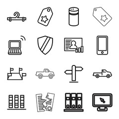 Set of 16 blank outline icons