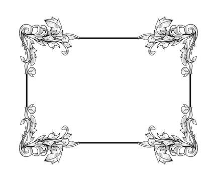 Baroque rococo border frame acanthus filigree vintage floral wedding decoration