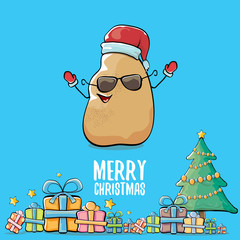 vector funky comic cartoon cute brown smiling santa claus potato with red santa hat, gifts, tree and calligraphic merry christmas text isolated on blue background. funky christmas character
