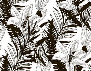 Vector Seamless Pattern with Drawn Flowers and Leaves
