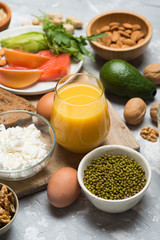 Set of healthy protein source food