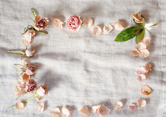 Border around with sweet pink dried roses. Sweetly and simple vintage set.