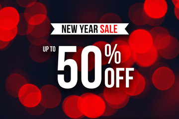 New Year Up To 50% Off Sale Horizontal Holiday Advertisement Over Red Bokeh Lights Background