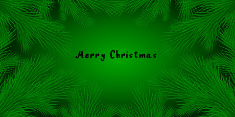 Fashion vector background with realistic branches of the Christmas tree and space for text. Frame isolated on green. Great for Christmas cards, banners, flyers, posters party. Vector eps 10.