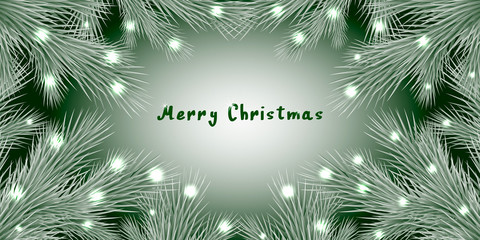 Fashion vector background with realistic branches of the Christmas tree and space for text. Frame, isolated on white. Great for Christmas cards, banners, flyers, posters party. Vector eps 10.