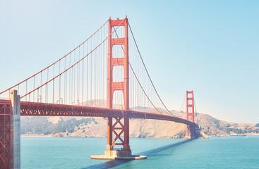 Retro toned picture of the Golden Gate Bridge, San Francisco, USA.