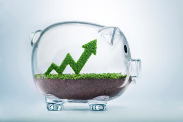 Growing savings arrow graph concept