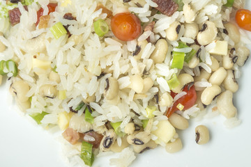 Typical brazilian food the name baiao de dois, is rice with beans together
