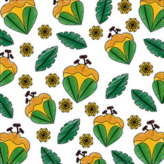 seamless pattern flowers leaves branch decoration image vector illustration