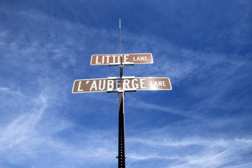 Looking up at a street sign in Sedona