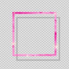 Pink Paint Glittering Textured Frame on Transparent Background. Vector Illustration