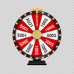 Wheel of Fortune, Lucky Icon on Transparent Background. Vector Illustration