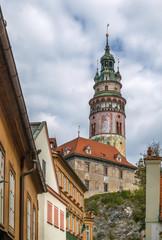 Cesky Krumlov castle tower, Czech republic