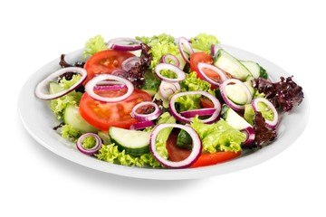 Wall Mural - set with different salads on white background
