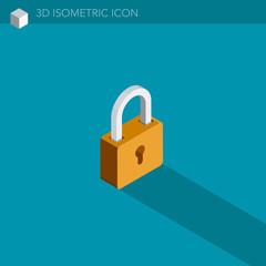 cadenas icône 3D isométrique - padlock 3D isometric web icon