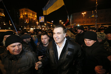 Ukrainian opposition figure Saakashvili meets with supporters after he was released from detention in Kiev