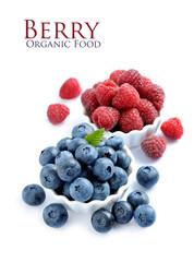 Ripe raspberry and blueberries.