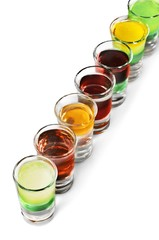 Alcohol in Shot Glasses Isolated