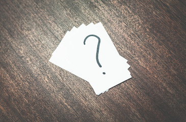 Question mark on a business cards.
