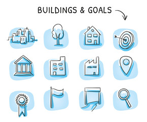 Icon set with buildings and location icons, as industry, office, house, city, finish, flag tree and badge. Hand drawn sketch vector illustration, blue marker style coloring on single blue tiles.