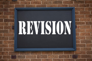 Conceptual hand writing text caption showing announcement Revision. Business concept for  Repeat Repetition Education Material for Exam written on frame old brick background and copy space