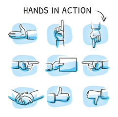 Set with different hand icons as shaking hands, like and dislike, pointing or giving something. Hand drawn sketch vector illustration, blue marker style coloring on single blue tiles.