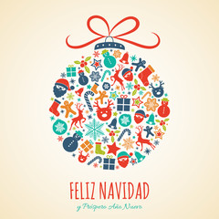 Feliz Navidad - Merry Christmas in Spanish. Christmas decoration. Vector.