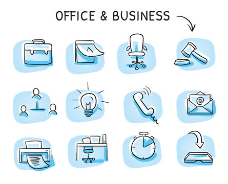 Set with different business and office icons, as chair, desk, light bulb, letter, calendar and watch. Hand drawn sketch vector illustration, blue marker style coloring on single blue tiles.