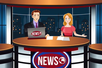 TV News Anchors Illustration