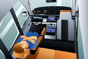 Man Sleeping in Self Driving Car Illustration