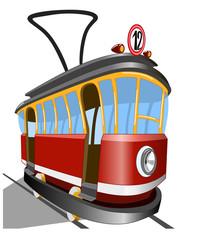 Старый трамвай на белом фоне, векторная иллюстрация