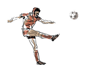 Sketched football player - vector illustration