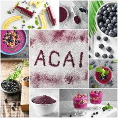 Collage of different ideas for recipes with acai berries