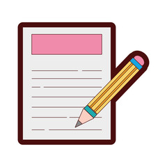 line color paper document with pencil tool design