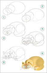 Page shows how to learn step by step to draw a sleeping cat. Developing children skills for drawing and coloring. Vector image.