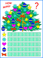 Exercise for young children. Need to count the toys in the Christmas tree and paint corresponding number. Vector image.